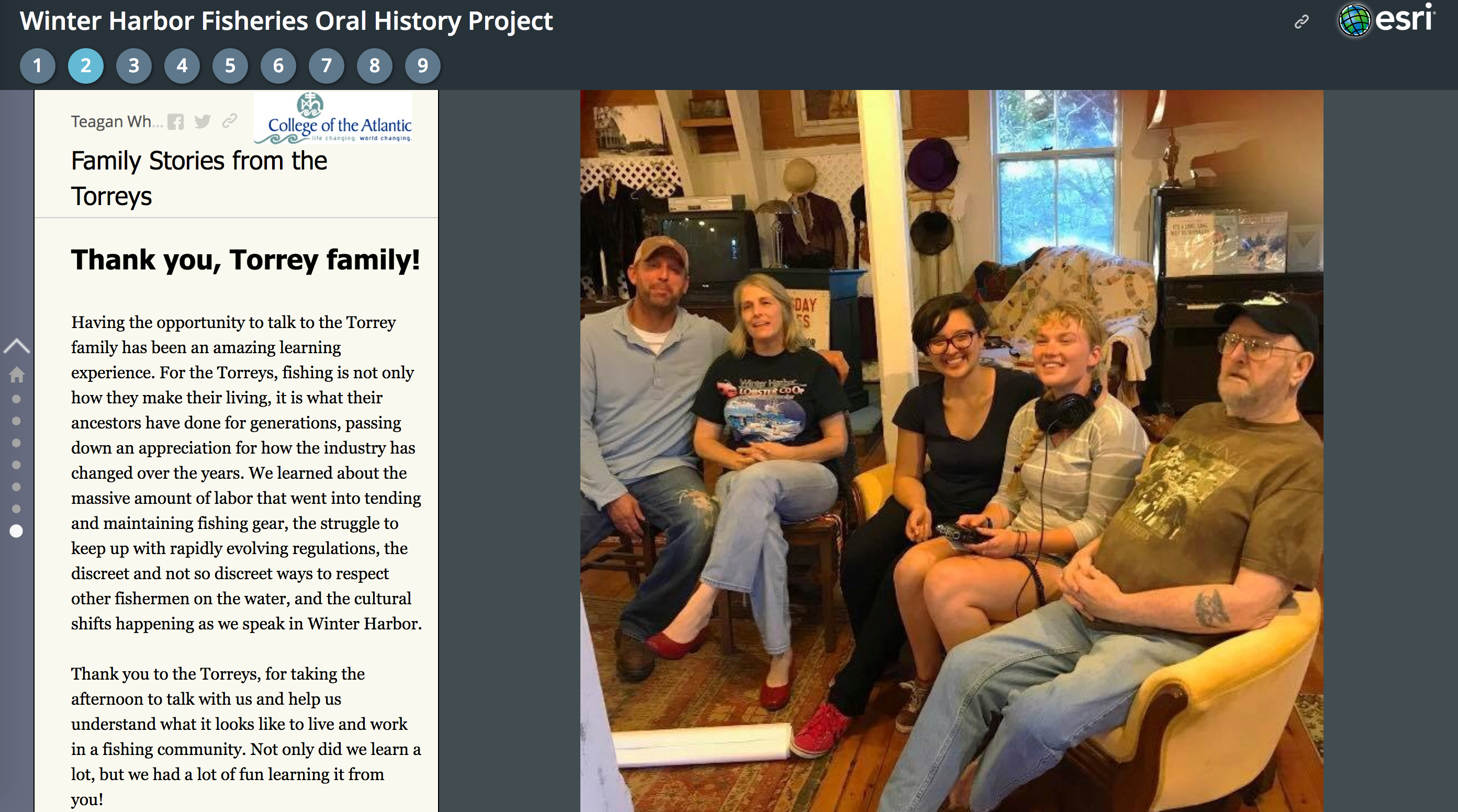 A screen capture of the Winter Harbor Oral Fisheries History Project showing the Torrey family photo beside an article