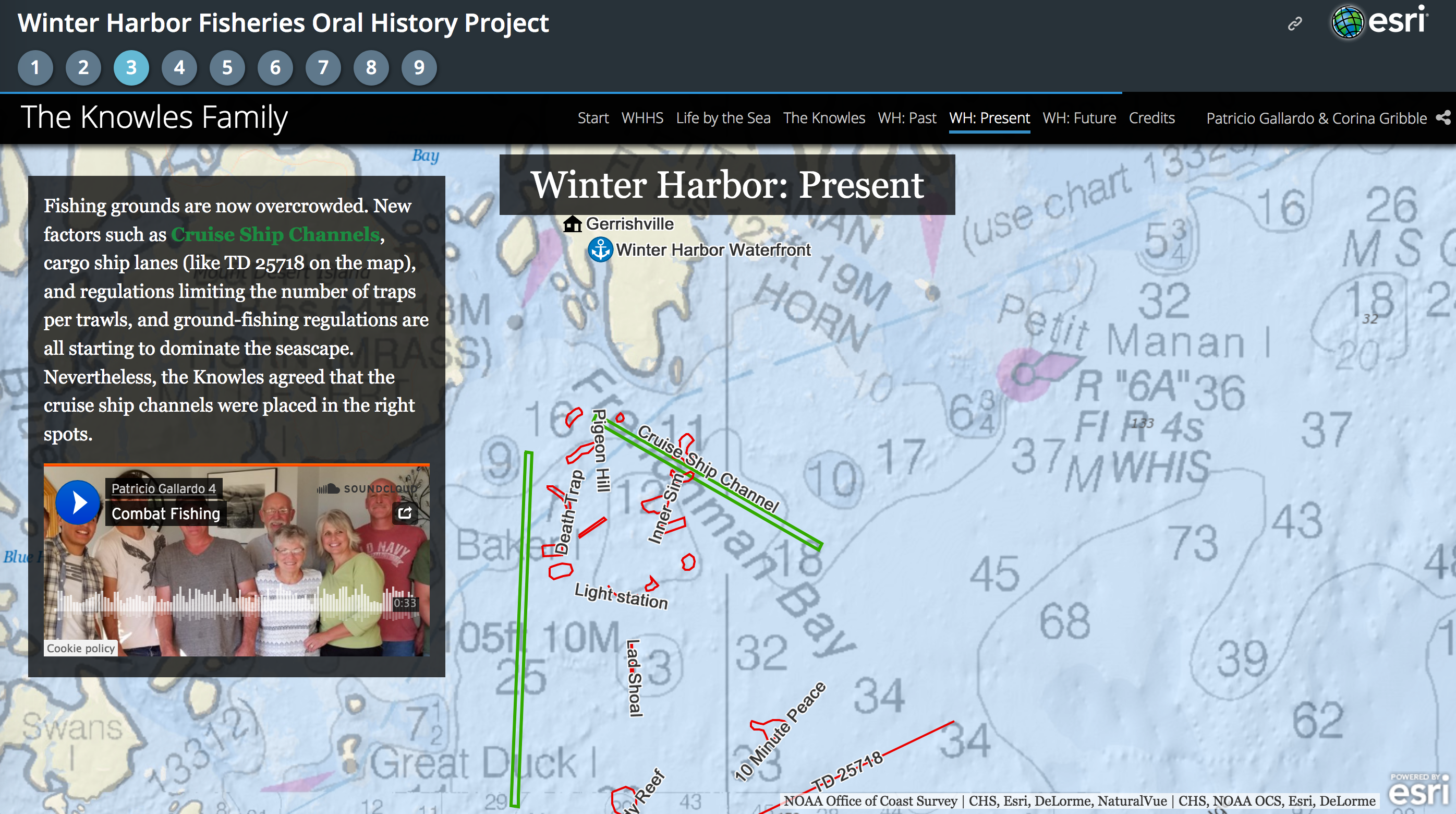 A screen capture of the Winter Harbor Fisheries Oral History project showing a map with an inset displaying information about fishing grounds